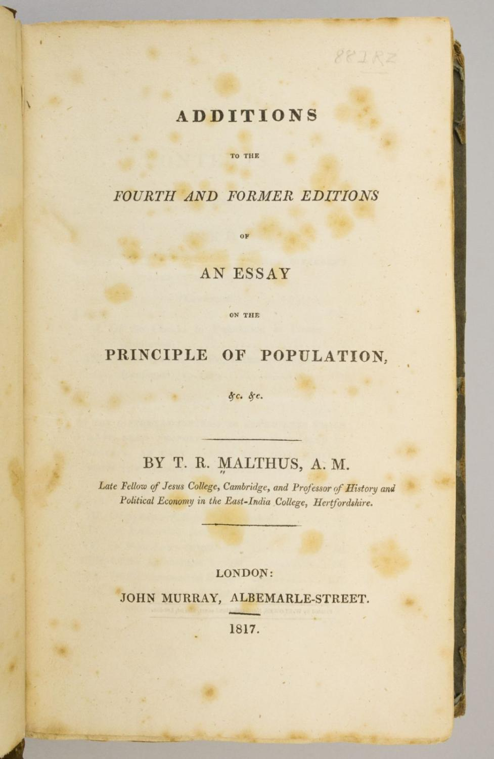 005 5337830061 2 Thomas Malthus An Essay On The Principle Of Population Marvelous Summary Analysis Argued In His (1798) That Full