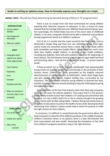 005 939861 1 Guide To Writing An Opinion Essay Example About Fast Unbelievable Food Restaurants Short British Council 360