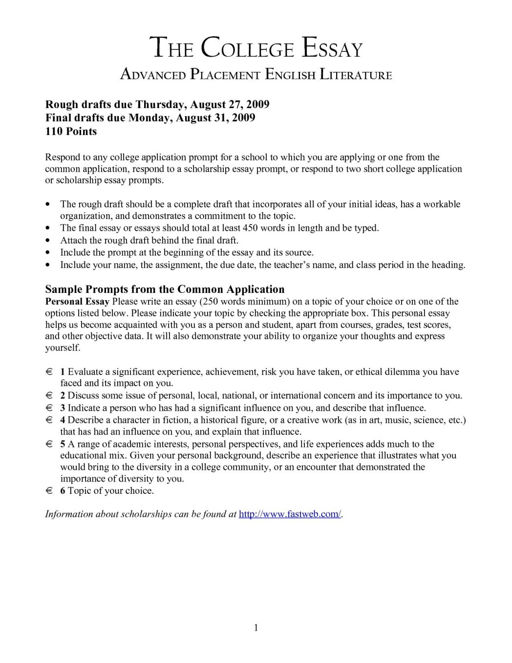 high school application essay examples