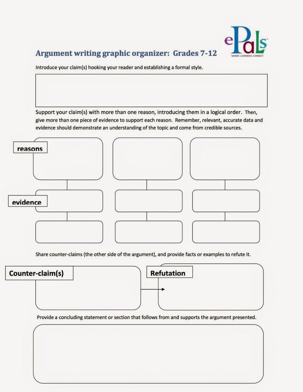 005 Argumentgraphicorganizer2bcopy Argument Essay Graphic Organizer Breathtaking Persuasive Examples Middle School Argumentative Pdf Large