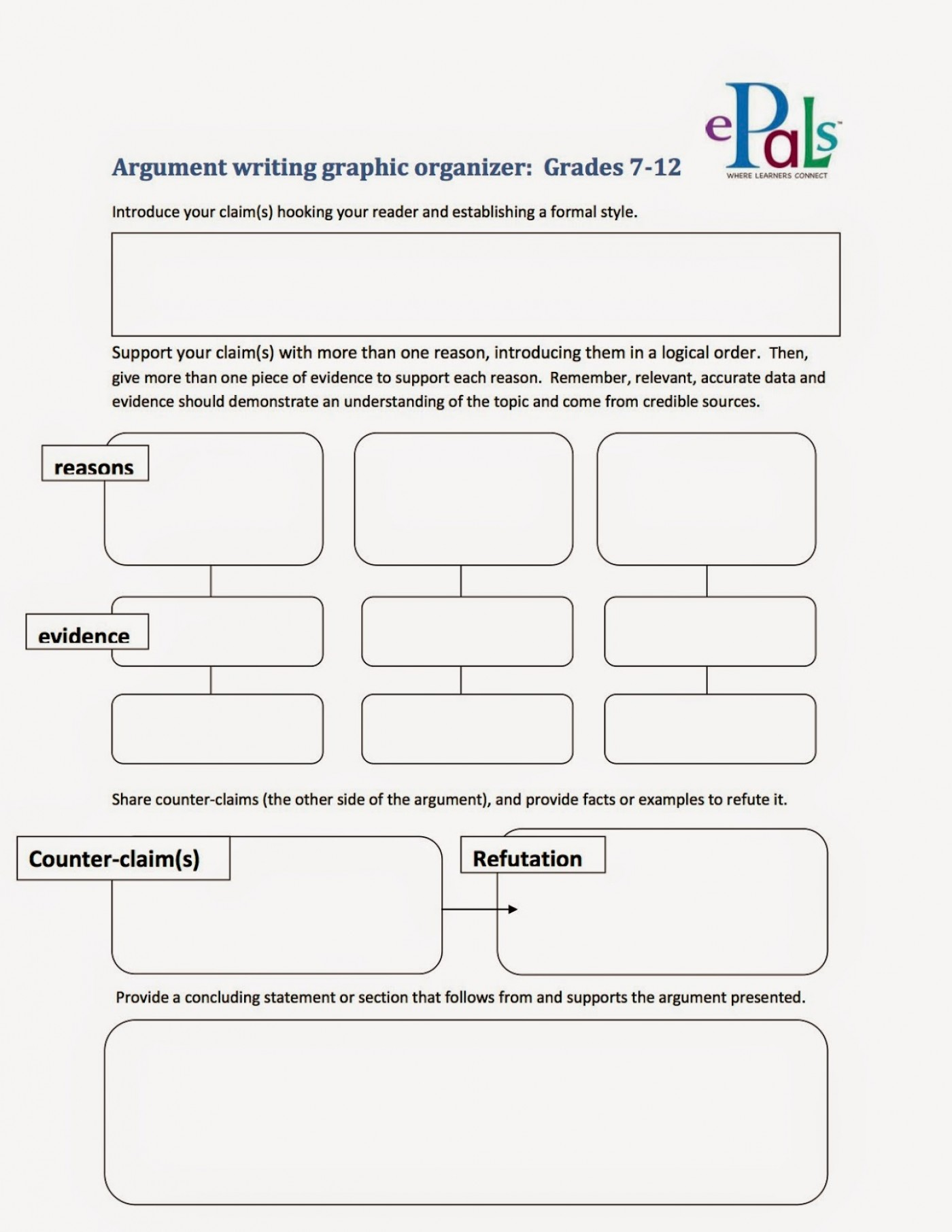 005 Argumentgraphicorganizer2bcopy Argument Essay Graphic Organizer Breathtaking Persuasive Examples Middle School Argumentative Pdf 1400