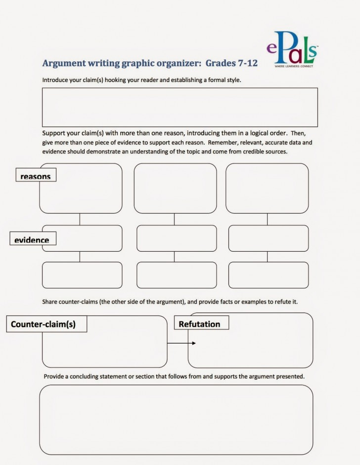 005 Argumentgraphicorganizer2bcopy Argument Essay Graphic Organizer Breathtaking Persuasive Examples Middle School Argumentative Pdf 728