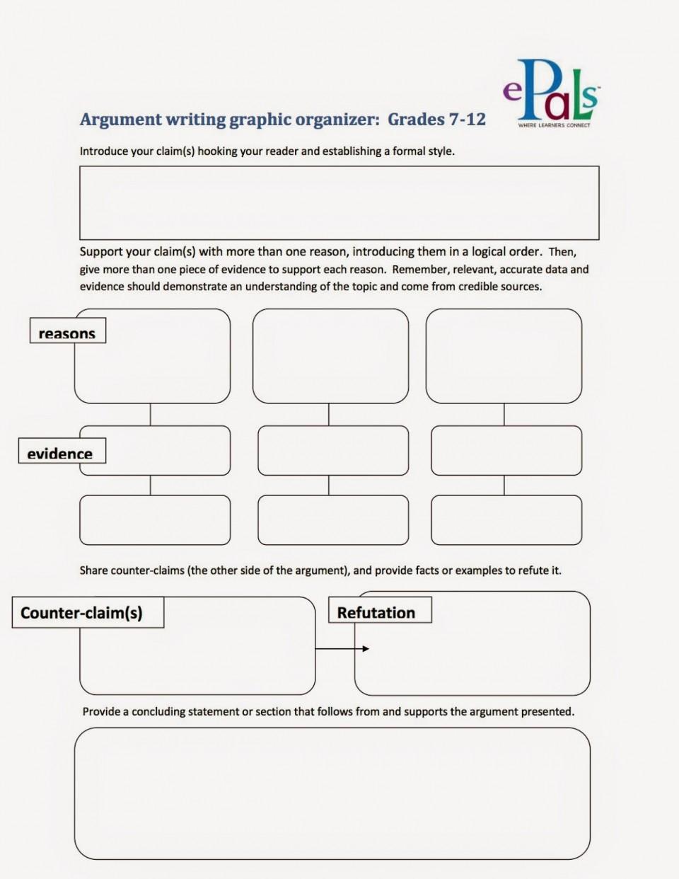 005 Argumentgraphicorganizer2bcopy Argument Essay Graphic Organizer Breathtaking Persuasive Examples Middle School Argumentative Pdf 960