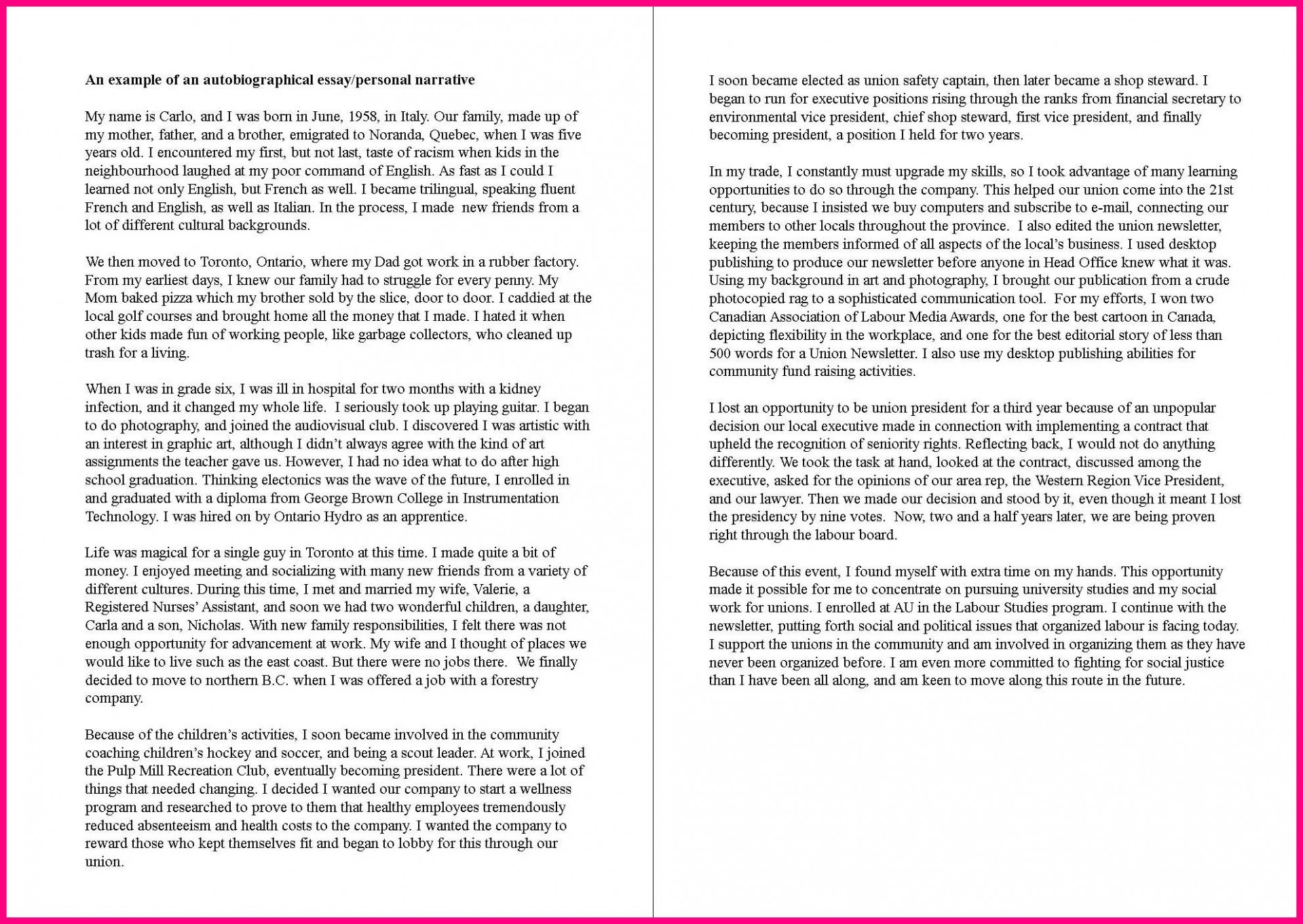 005 Autobiography Essay Example Family Background Sample Autobiographical Unique Of About Yourself Tagalog Bio For Students 1920