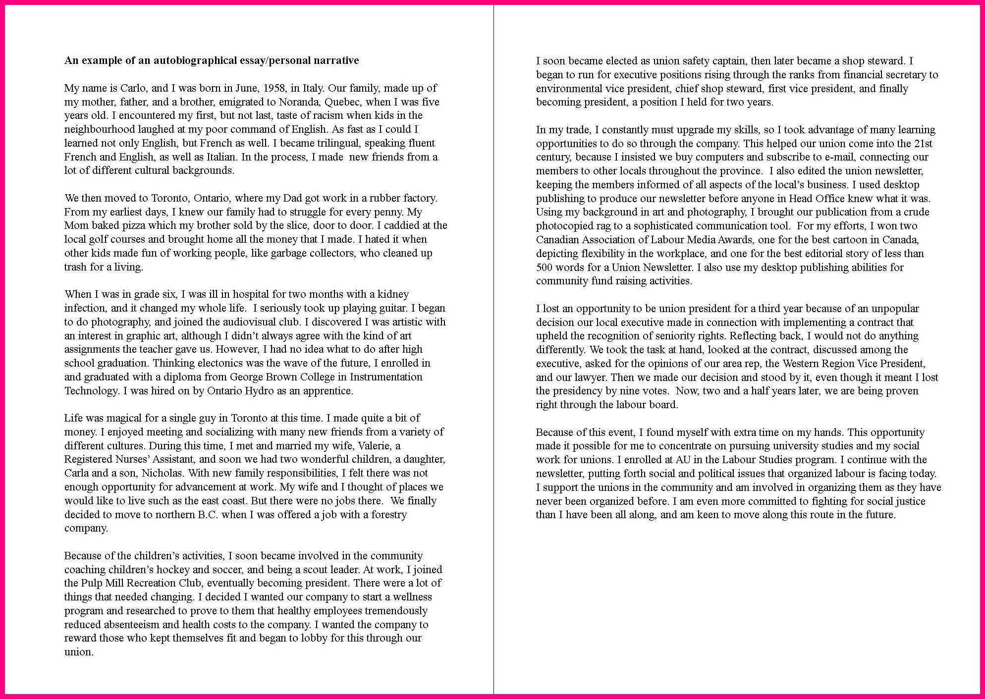 005 Autobiography Essay Example Family Background Sample Autobiographical Unique Pdf Examples For College Full