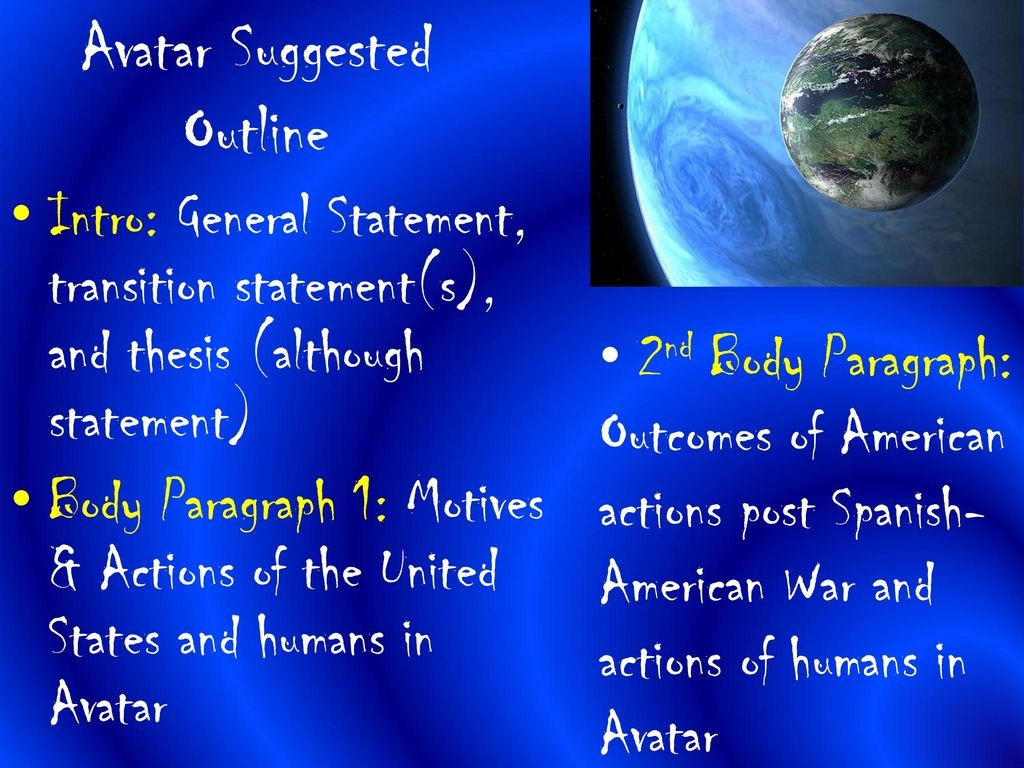005 Avatarsuggestedoutline Essay Example Avatar Stirring Imperialism Large