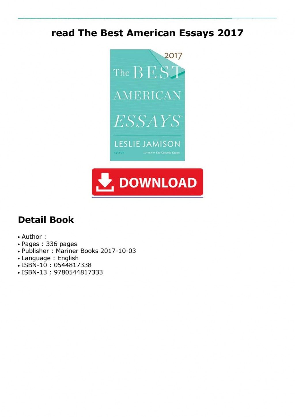 005 Best American Essays Essay Example Page 1 Astounding 2017 Submissions Pdf Free Download Large