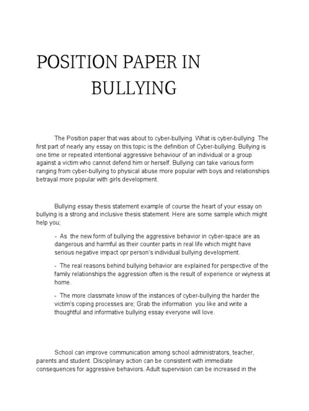 005 Bullying Essay Example Good Conclusion For Academic Writing Service Cause And Effect On In Awful Cyber Outline Creative Titles Anti Large