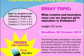 005 Child Education Essay Unicef Eastern And Southern Africa Media Centre Zimbabwe On Girl Wikipedia Zim Newsline Essaysompetitiona In Telugu Pdf Short English Free Hindi Tamil Awful