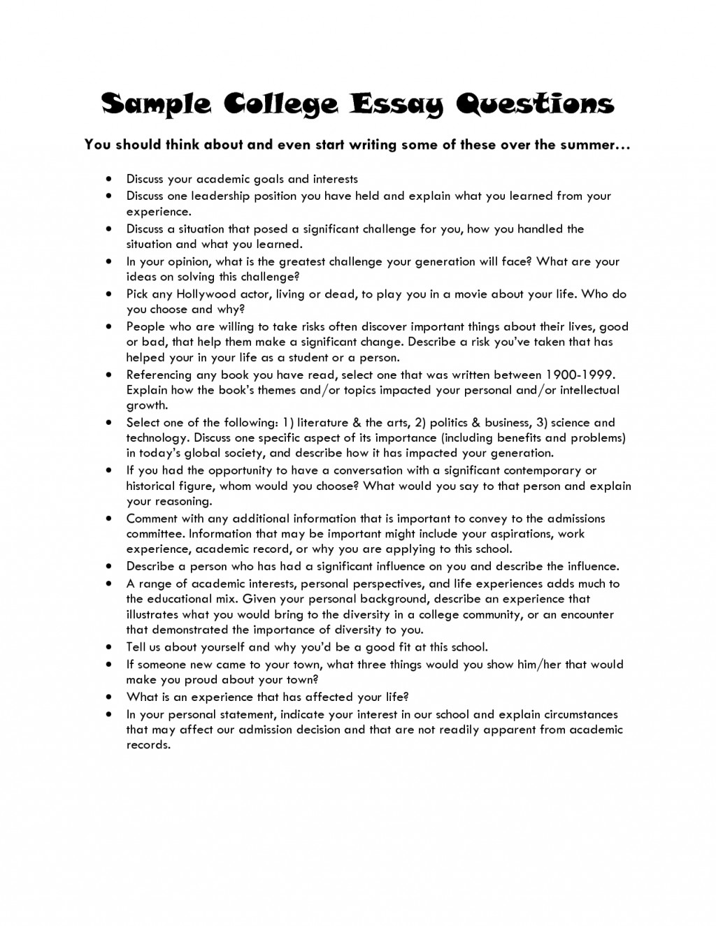 005 College Essay Topics Academic Goals Sample Questions L Top A B And C Examples Prompt 1 Research Paper 2018 Large