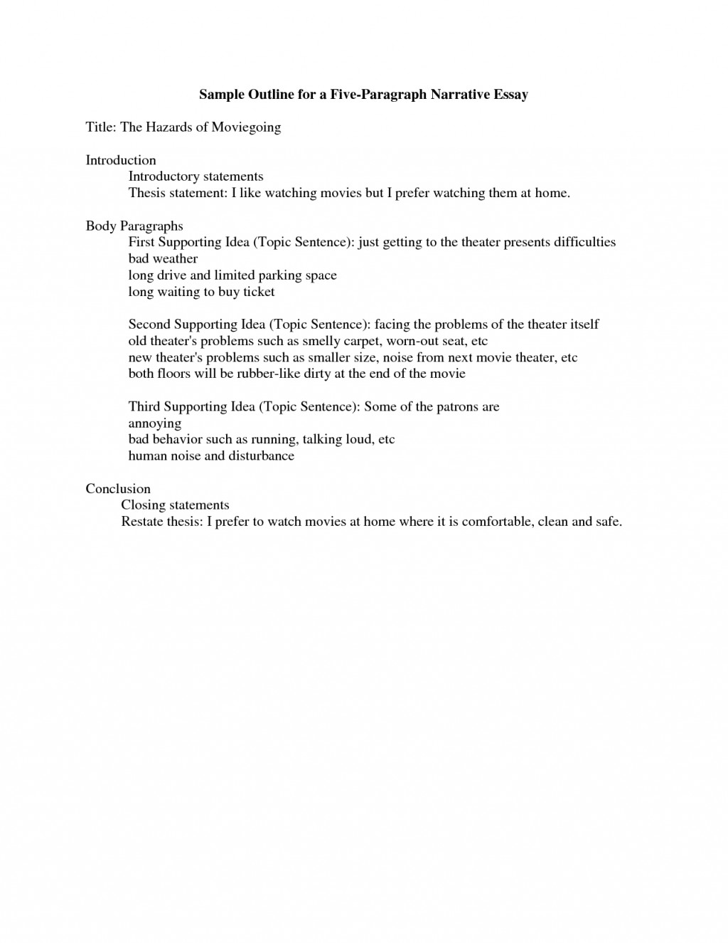005 College Level Narrative Essay Outline Marvelous Example Template Large