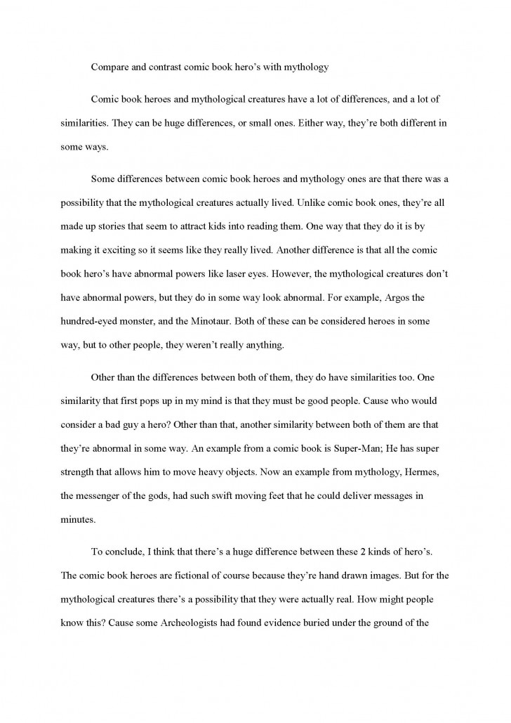 005 Compare And Contrast Essay Sampleid8072 Example Exceptional Template High School 5th Grade Vs College 728
