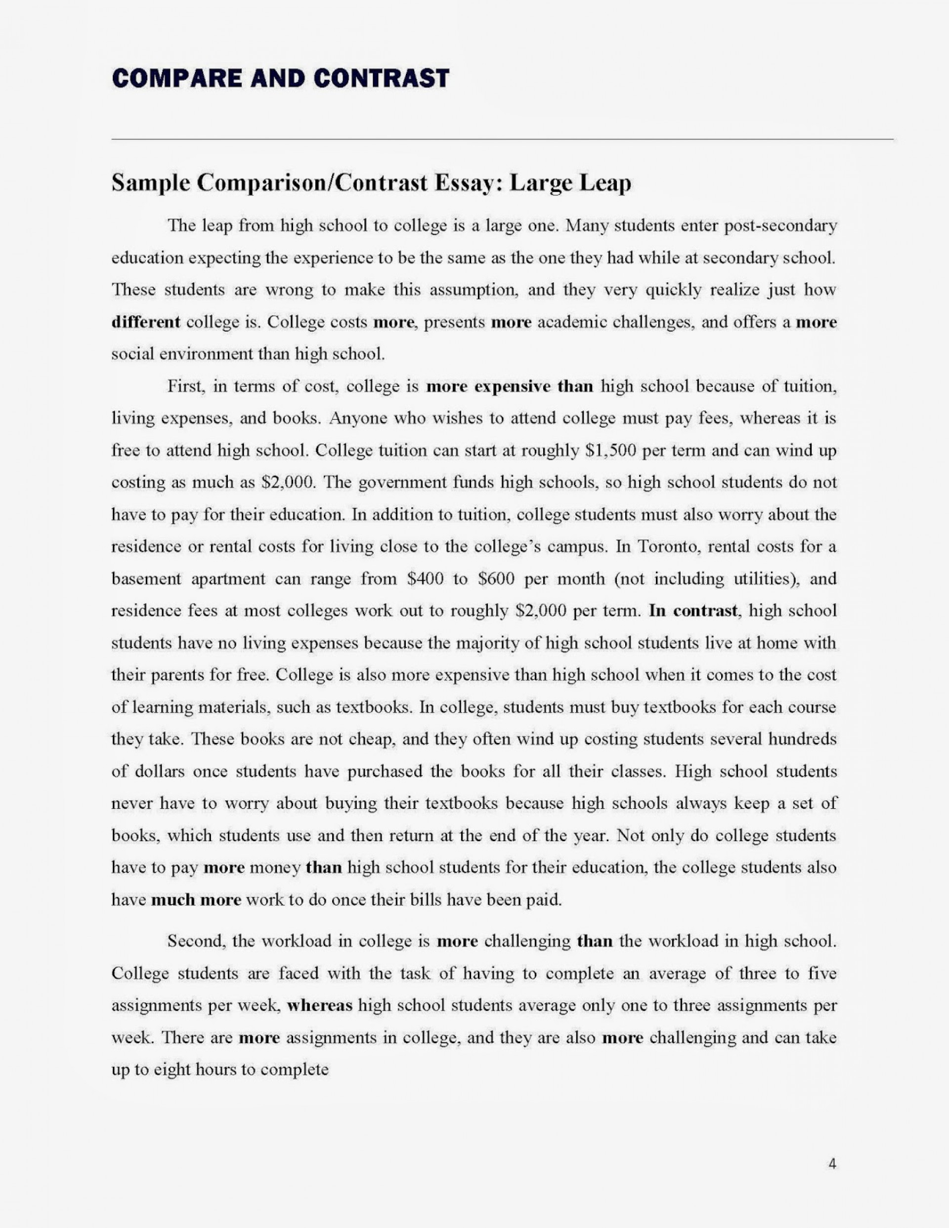 Essay Example Contrast  Thatsnotus   Contrast Essay Compareandcontrastessay Page H Fantastic Compare  Examples High School Vs College Words Topics