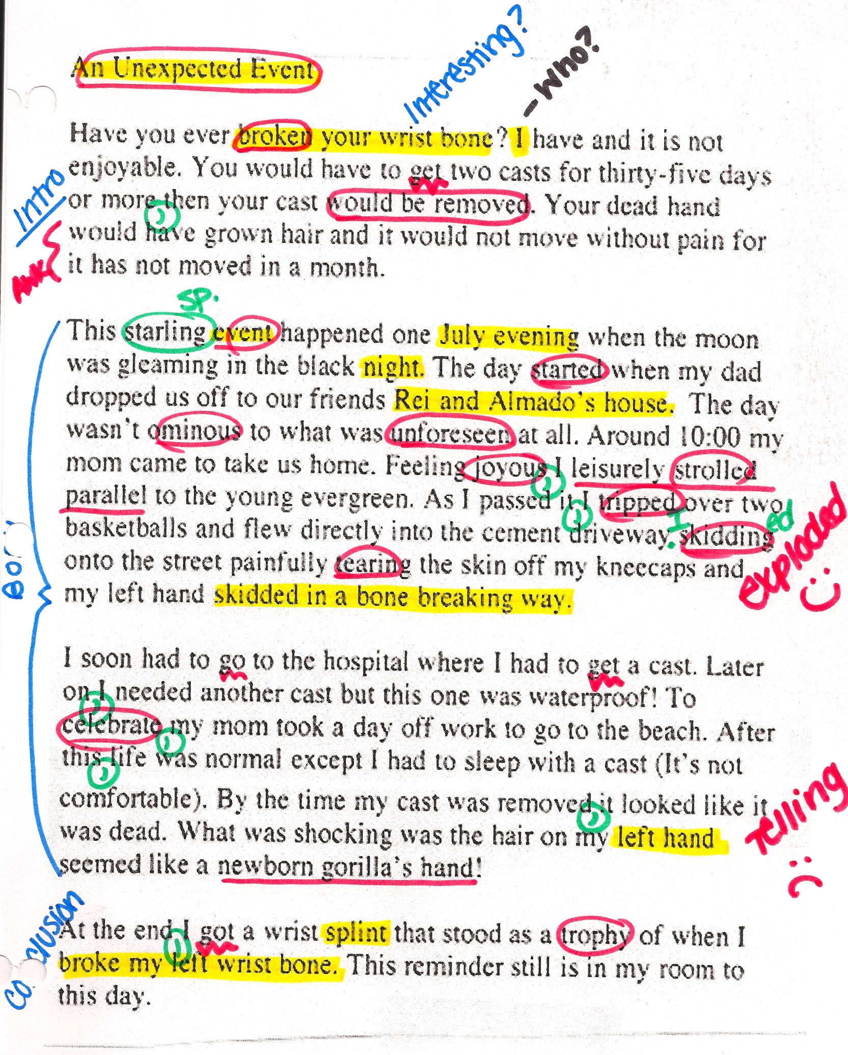 005 English Writing Sample Essays Essay Example Unexpected Event Striking Creative Full