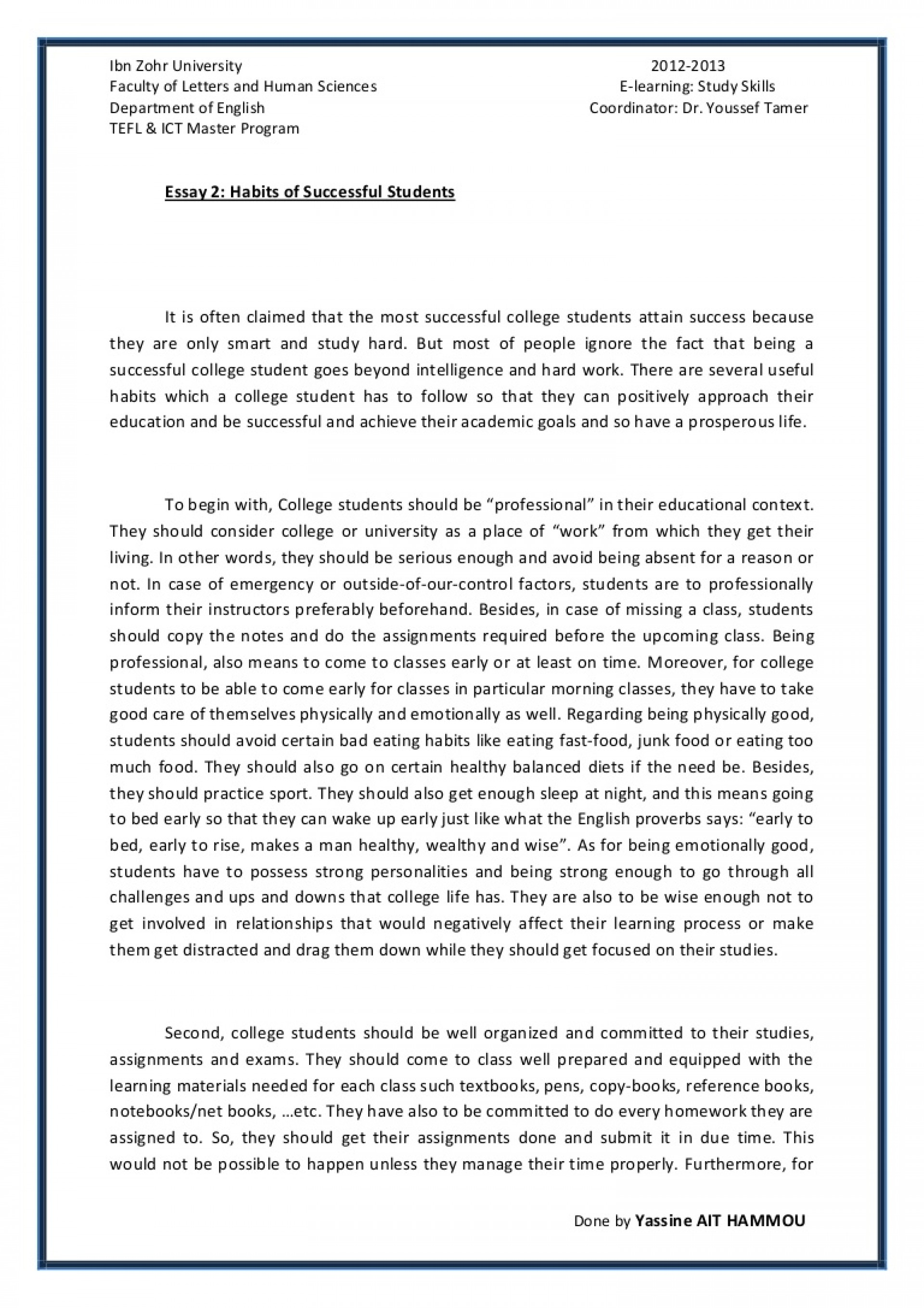 005 Essay About Good Student Essay2 Succesfulcollegestudentshabitsbyyassineaithammou Phpapp01 Thumbnail Rare Qualities Of Students On Ideal In Punjabi Definition 1920