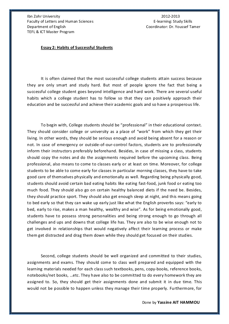 005 Essay About Good Student Essay2 Succesfulcollegestudentshabitsbyyassineaithammou Phpapp01 Thumbnail Rare Qualities Of Students On Ideal In Punjabi Definition Full