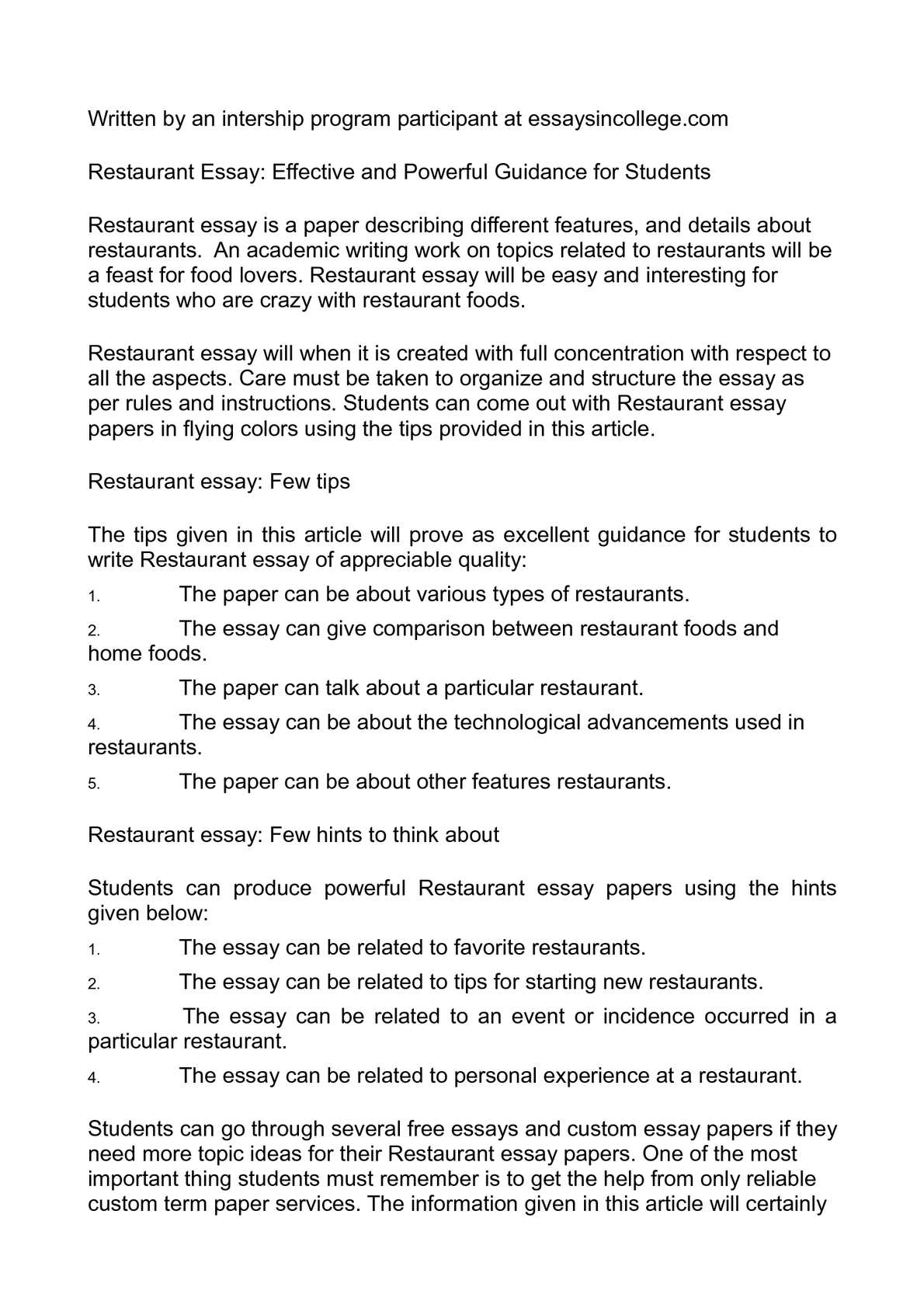 005 Essay Example About Favorite Restaurant Beautiful Your Write An Full