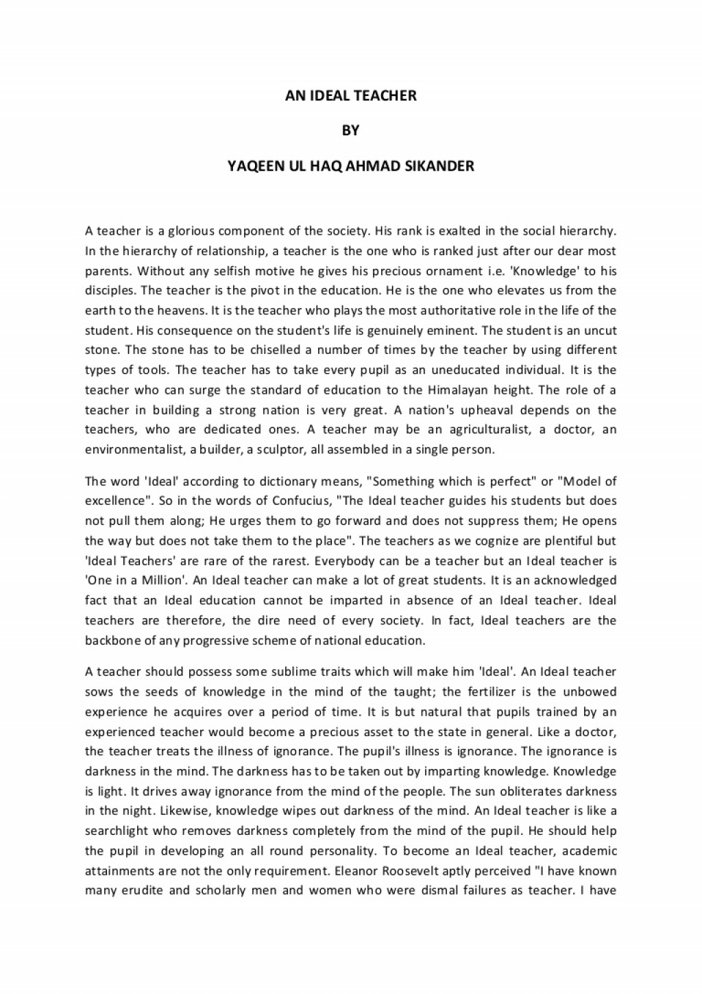 005 Essay Example Anidealteacher Phpapp02 Thumbnail On Marvelous Teacher Teachers Importance My Class In Urdu Write An Large