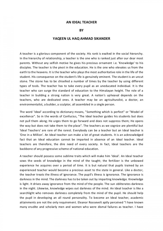 005 Essay Example Anidealteacher Phpapp02 Thumbnail On Marvelous Teacher Teachers Day In Odia Argumentative Carrying Guns Importance Hindi 1920