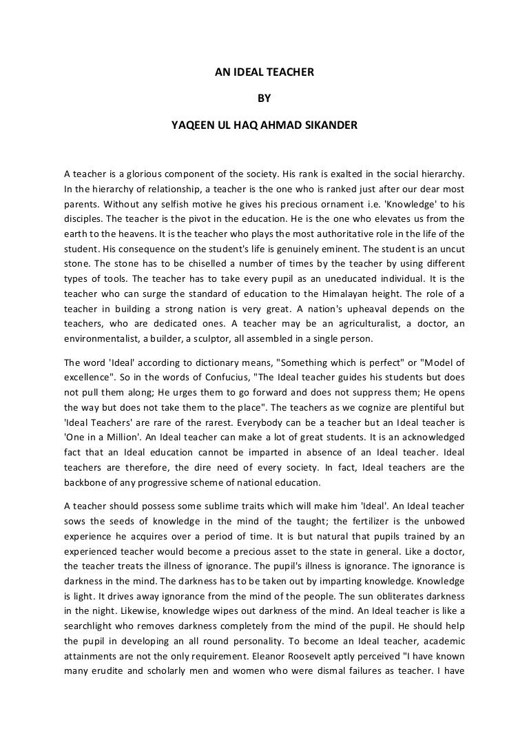 005 Essay Example Anidealteacher Phpapp02 Thumbnail On Marvelous Teacher Teachers Day In Odia Argumentative Carrying Guns Importance Hindi Full