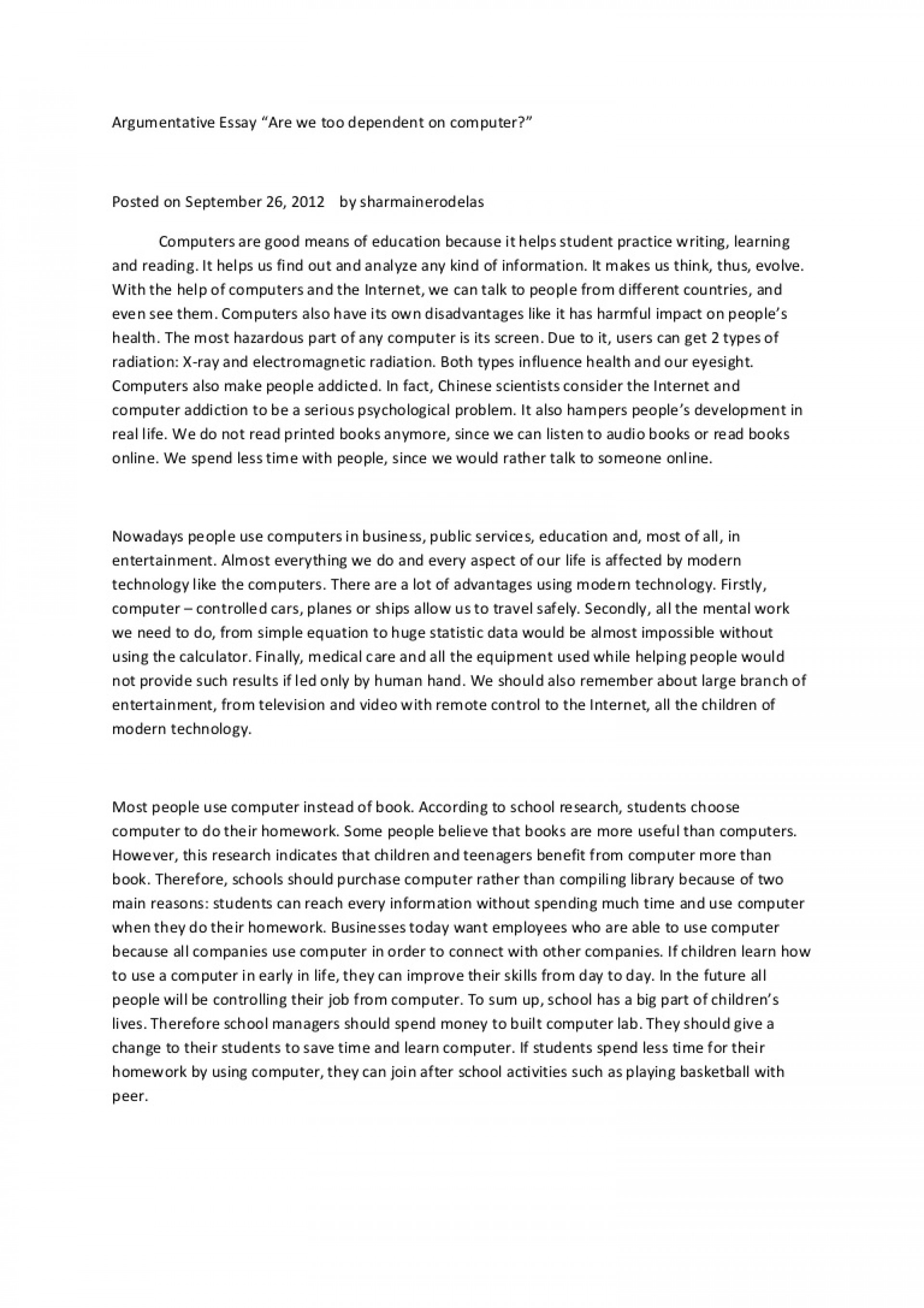 005 Essay Example Argumentativeessay Phpapp01 Thumbnail On Breathtaking Technology Advancement Reflection In The Classroom Technological Advancements And Their Ill-effects 1920