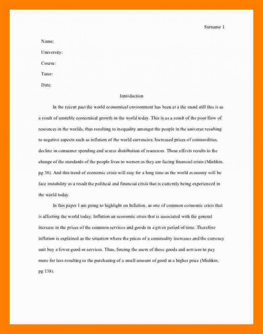005 Essay Example Asa Format Sample Mla Style One Aspect Of The Current Economic Crisis Remarkable Reference Generator Heading Citation Large
