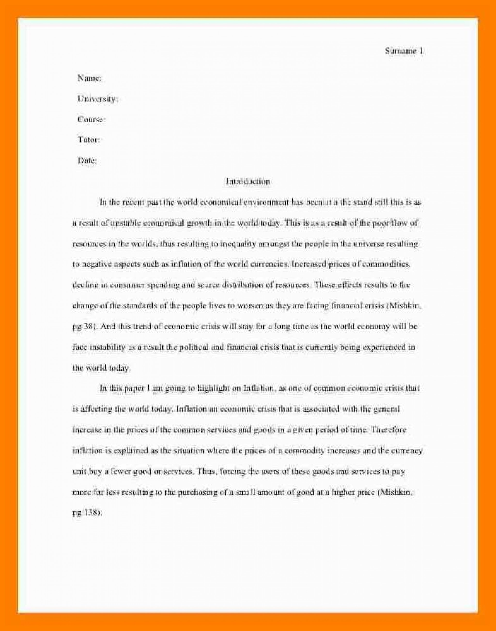 005 Essay Example Asa Format Sample Mla Style One Aspect Of The Current Economic Crisis Remarkable Reference Generator Heading Citation 1920