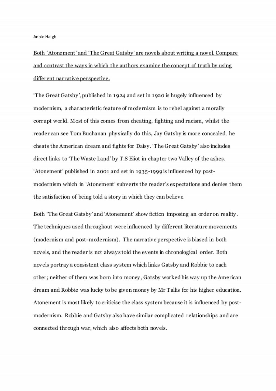 005 Essay Example Atonement Questions Gatsbyandatonementnew Conversion Gate02 Thumbnail Fascinating Large