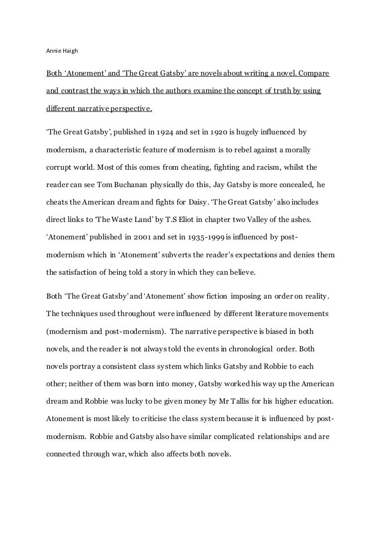 005 Essay Example Atonement Questions Gatsbyandatonementnew Conversion Gate02 Thumbnail Fascinating Full