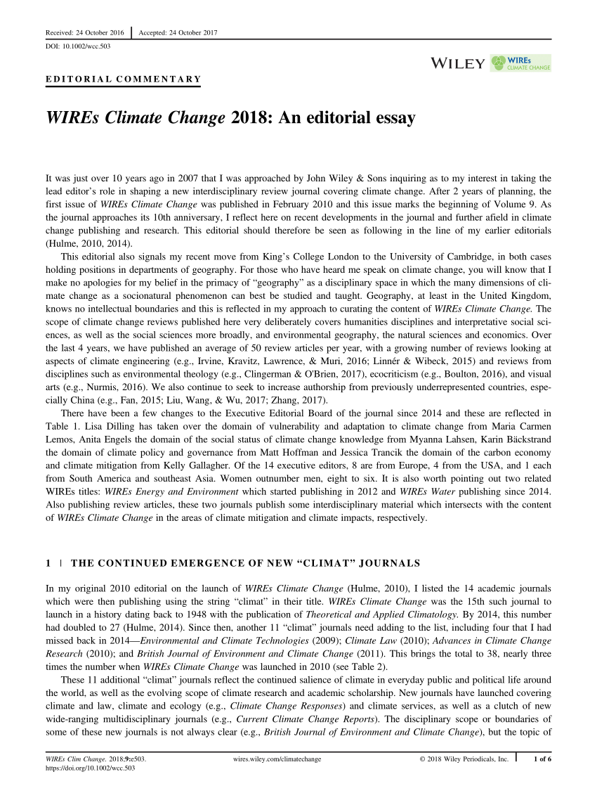 Essay about climate change
