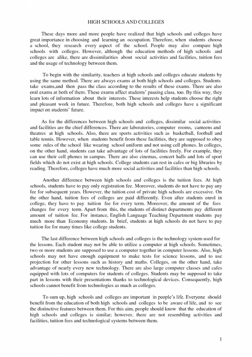 005 Essay Example Compare And Contrast High School Vs College Conclusion Comparison About Highschool Pdf Staggering Life