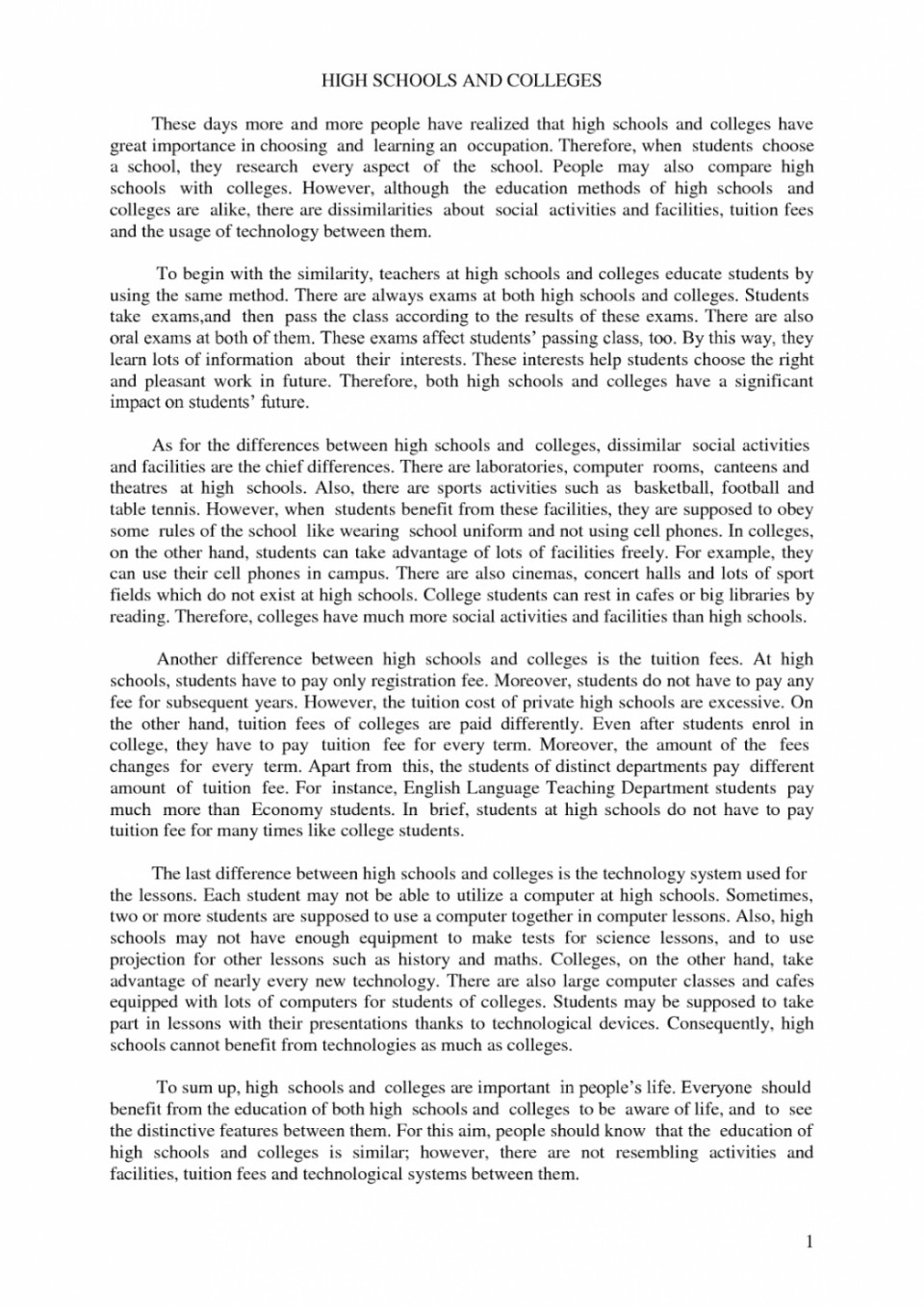 005 Essay Example Compare And Contrast High School Vs College Conclusion Comparison About Highschool Pdf Staggering 960