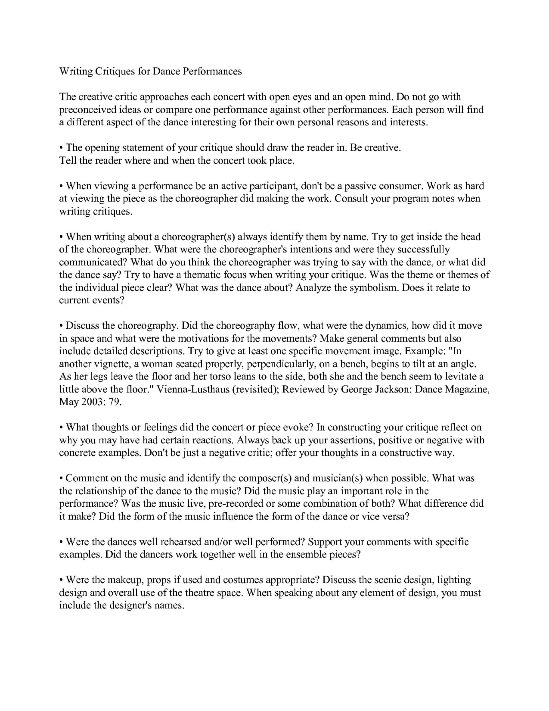 005 Essay Example Dance Essays On Danceconcert Critique Examples L Frightening Jazz Topics Scholarships Conclusion 1920