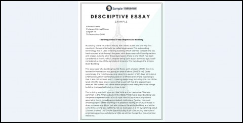 005 Essay Example Descriptive Impressive Outline Template Pdf Topics For Ibps Po Writing Format 480