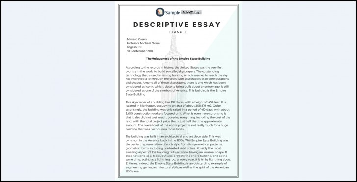 005 Essay Example Descriptive Impressive Topics Rubric Middle School About An Event 728