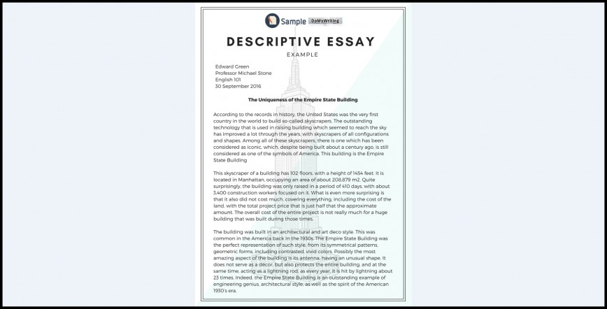 005 Essay Example Descriptive Impressive Topics Rubric Middle School About An Event 868