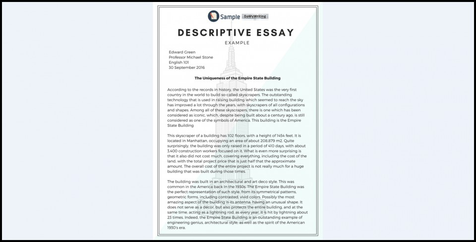 005 Essay Example Descriptive Impressive About A Pet Place Format 960