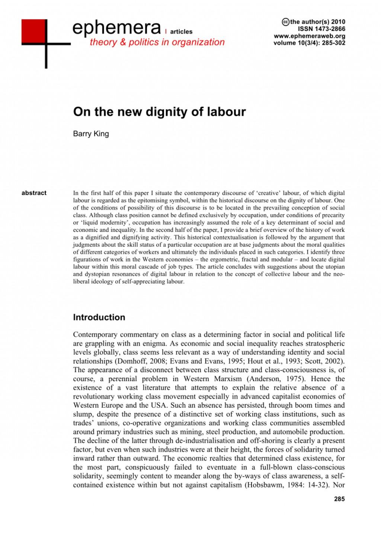 Essay on dignity
