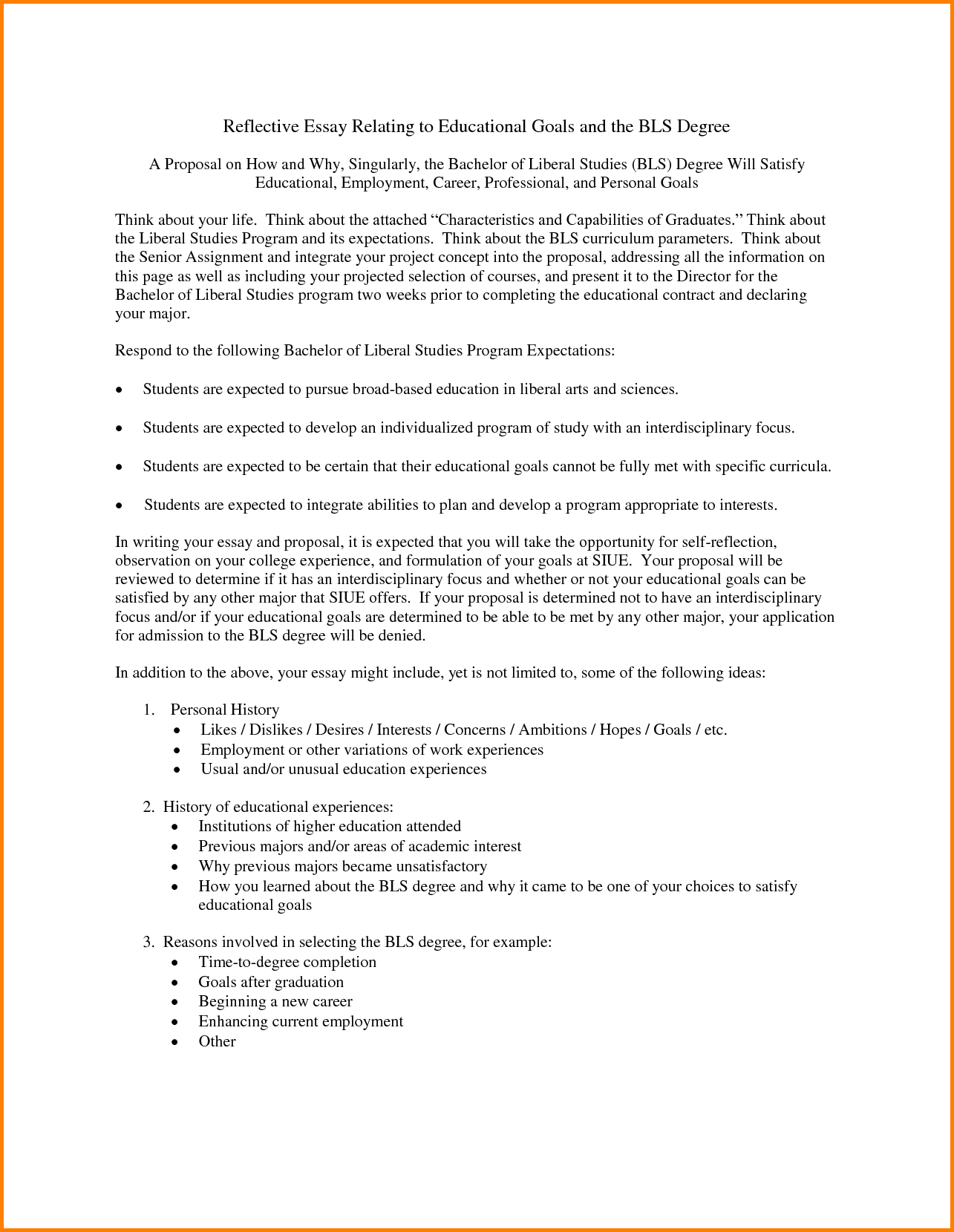 Georgetown application essay goals