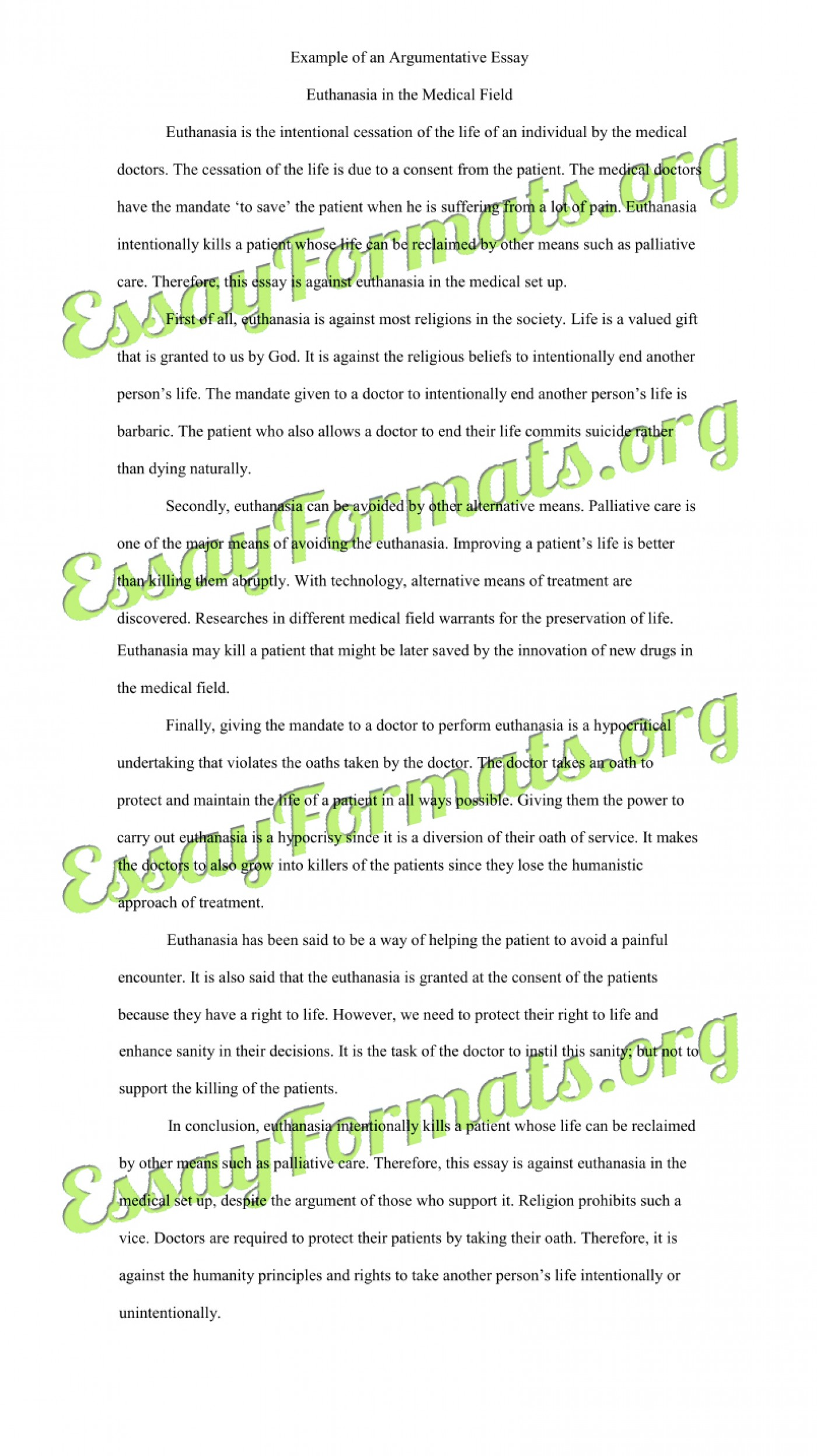 005 Essay Example Euthanasia Argumentative Counter Argument Persuasive Examples L Stirring Outline Conclusion Pdf 1400