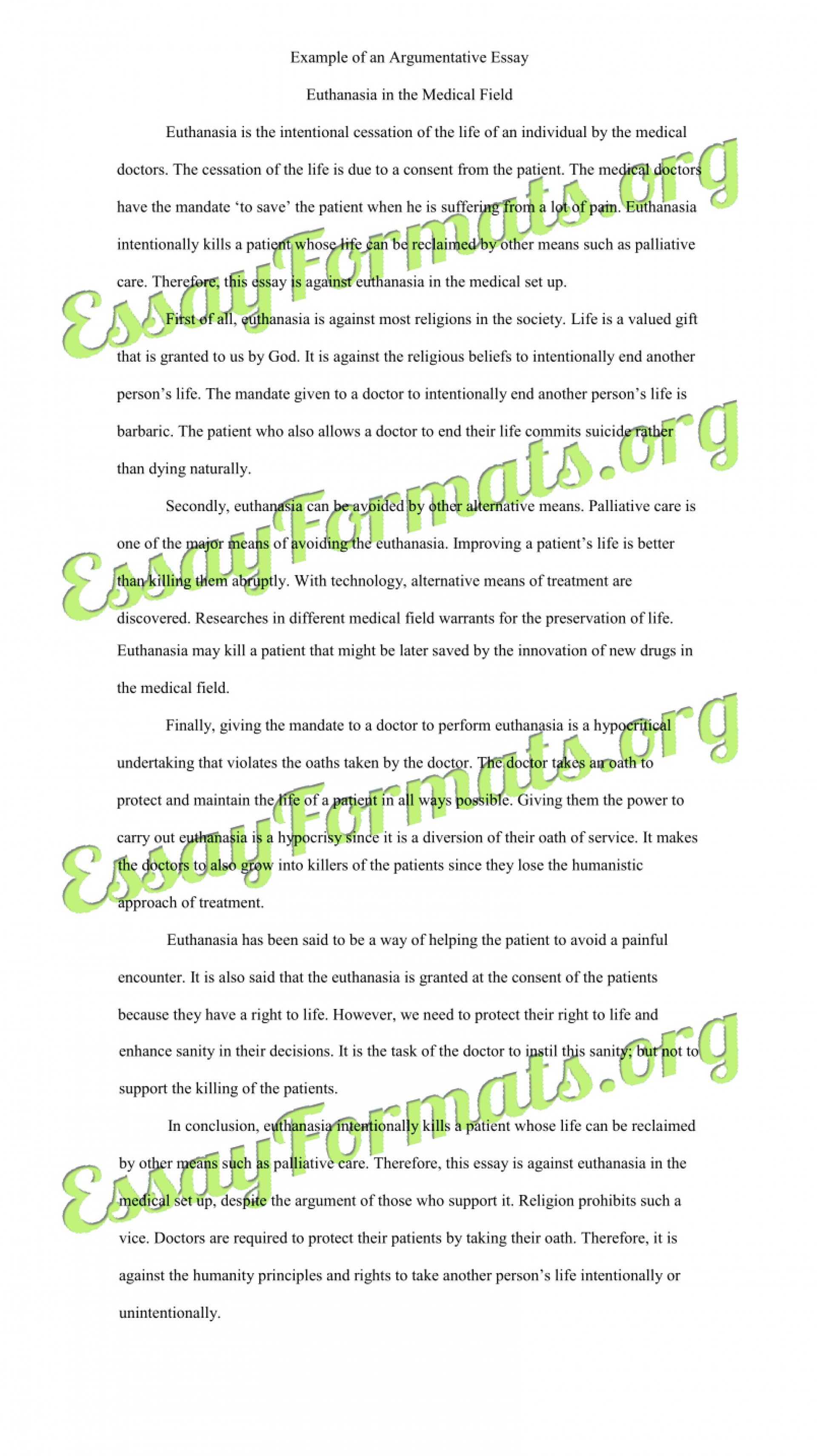 005 Essay Example Euthanasia Argumentative Counter Argument Persuasive Examples L Stirring Pro Thesis Introduction 1920
