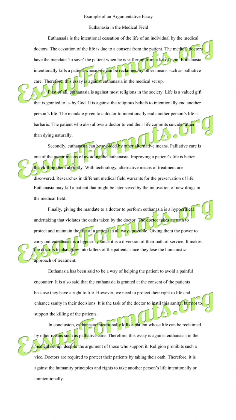 005 Essay Example Euthanasia Argumentative Counter Argument Persuasive Examples L Stirring Outline Conclusion Pdf 960