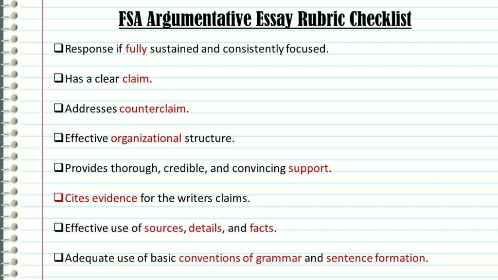 005 Essay Example Fsaargumentativeessayrubricchecklist An Effective Claim For Argumentative Wondrous Is Which Statement Of Brainly Quizlet Large