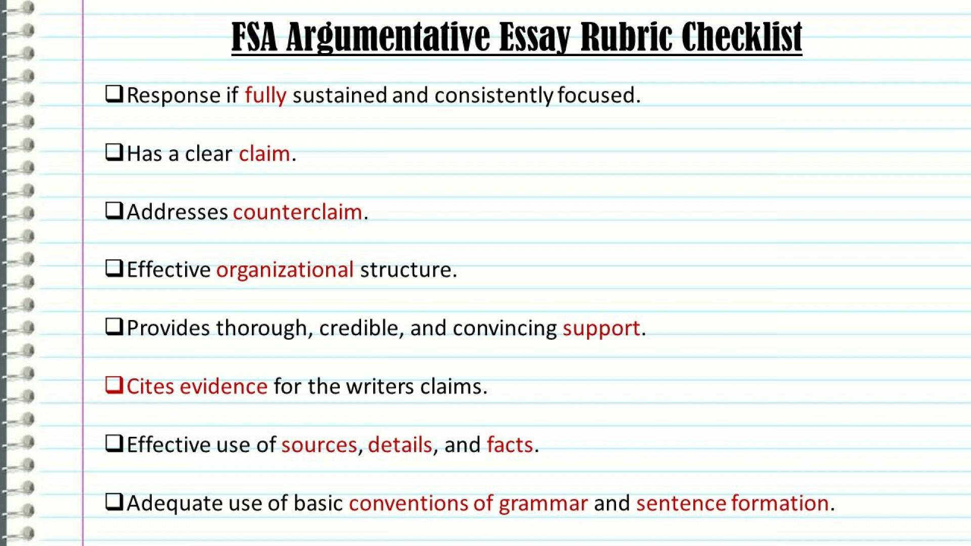 005 Essay Example Fsaargumentativeessayrubricchecklist An Effective Claim For Argumentative Wondrous Is Which Statement Of Brainly Quizlet 1920