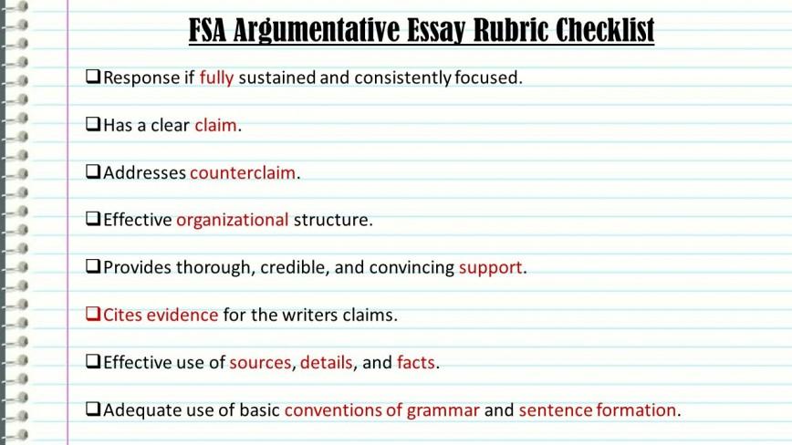 005 Essay Example Fsaargumentativeessayrubricchecklist An Effective Claim For Argumentative Wondrous Is Which Statement Of Brainly Quizlet