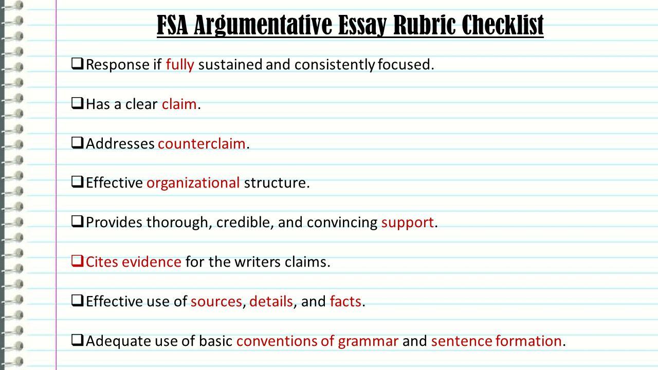 005 Essay Example Fsaargumentativeessayrubricchecklist An Effective Claim For Argumentative Wondrous Is Which Statement Of Brainly Quizlet Full