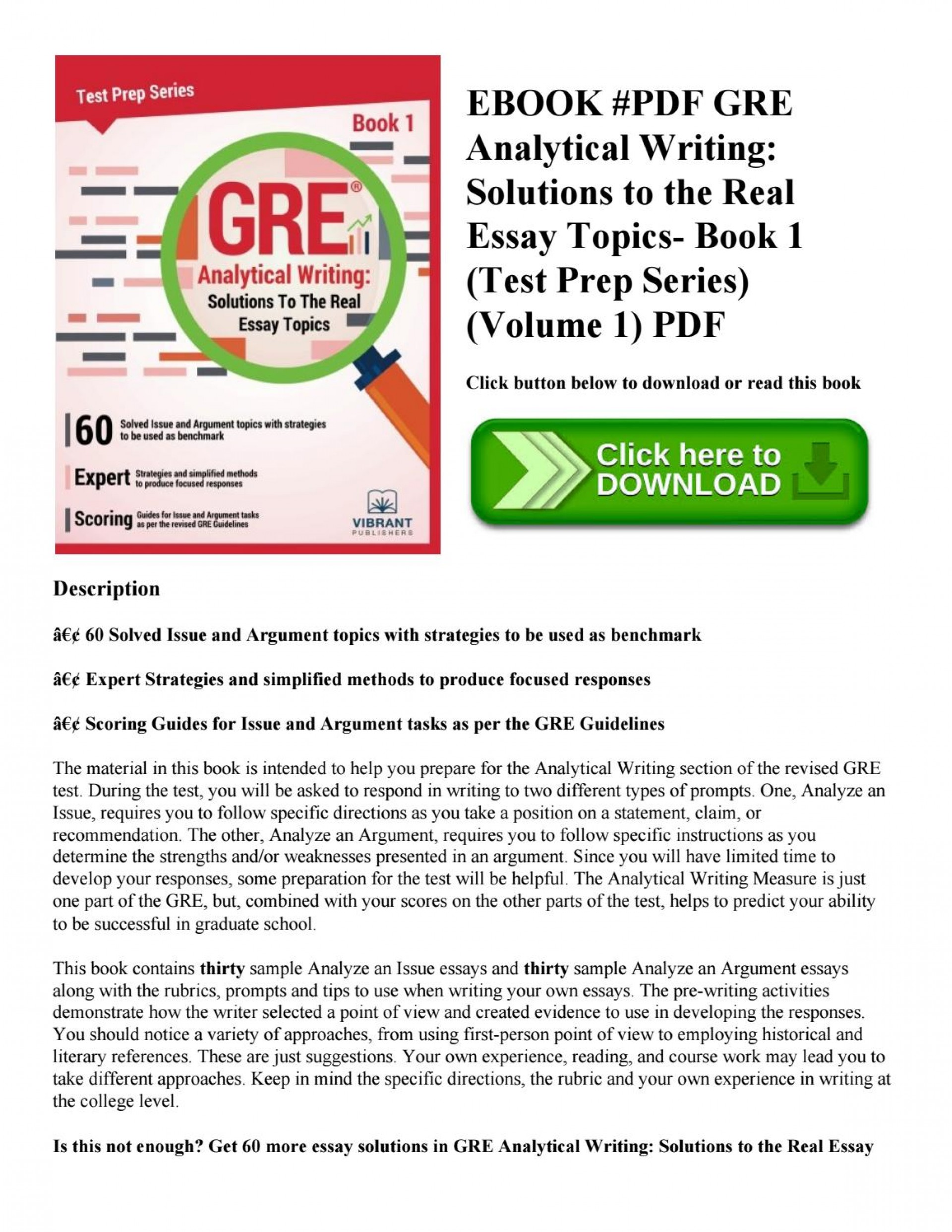 005 Essay Example Gre Book Pdf Page 1 Incredible Analytical Writing 1920
