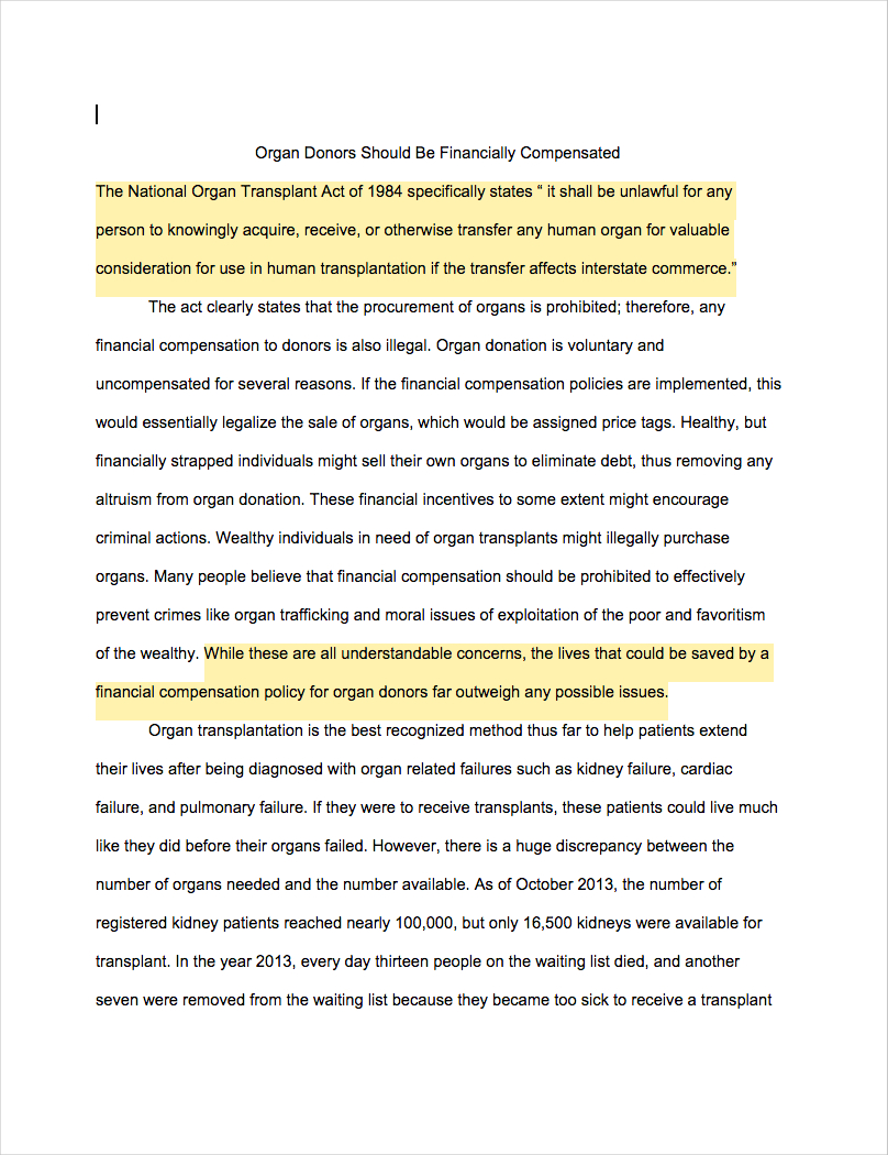 005 Essay Example How To Start Argumentative Examples Organ Donors Should Financially Compensated Marvelous Write An Effective Pdf Outline Conclusion Full