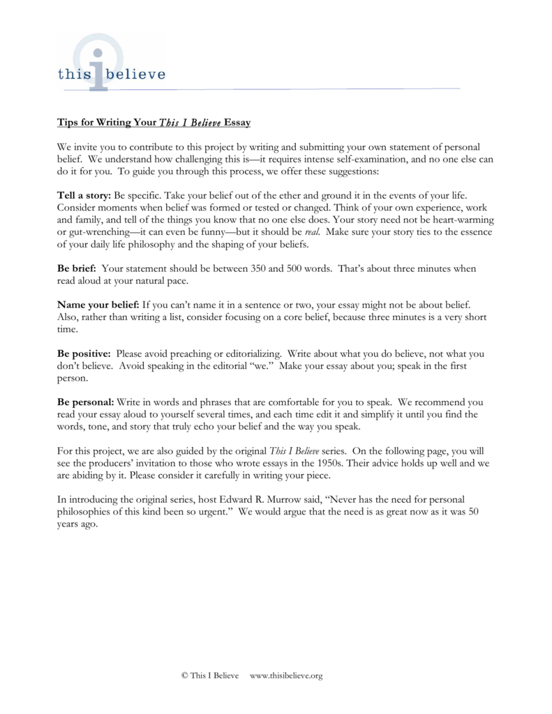005 Essay Example How To Write This I Believe 008807221 1 Fantastic A Things On What Full
