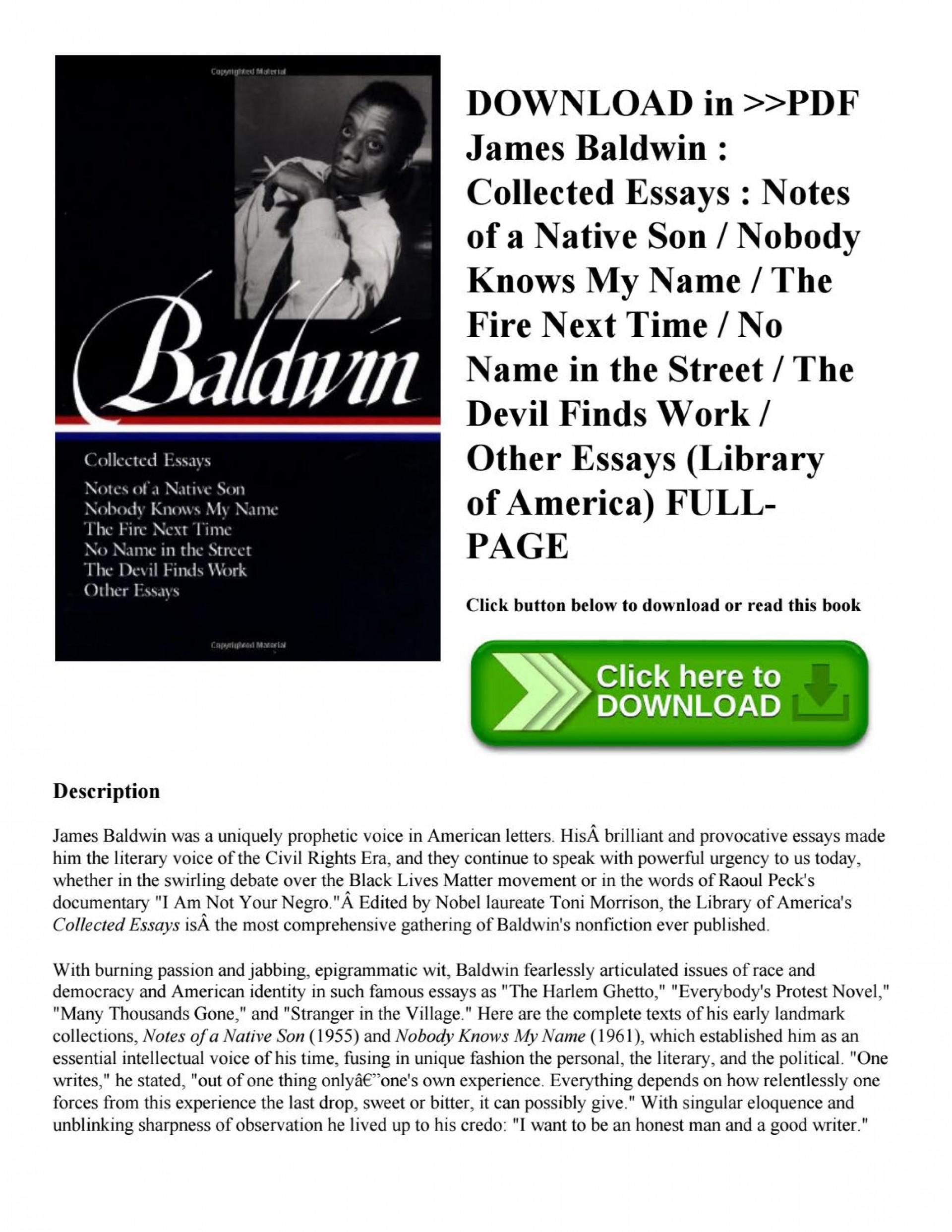 005 Essay Example James Baldwin Collected Essays Page 1 Wondrous Google Books Pdf Table Of Contents 1920